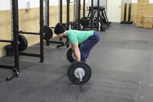The CrossFit deadlift, with hips high.