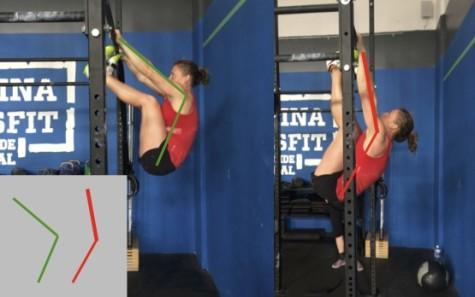 CrossFit Roots demoing body angles needed for better Toes-To-Bar.