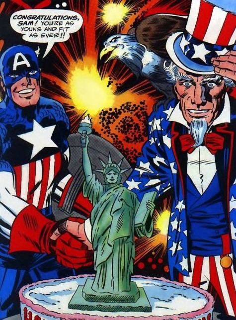 Nothing more American than Captain America, Uncle Sam, and a bald Eagle!!! 'MERICA!!