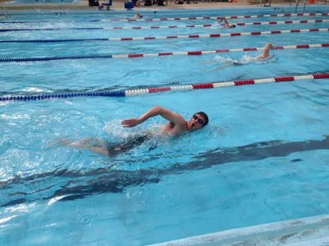 Mike working on his breathing during his freestyle stroke. Yeah for swim WODs!!