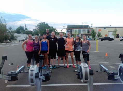 The rowing crew after completing their 40 minute time trial thanks to Maddie and Elevation Rowing!