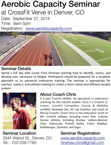 Aerobic Capacity Seminar Flyer2 at CrossFit Verve 475x618 Monday 140915