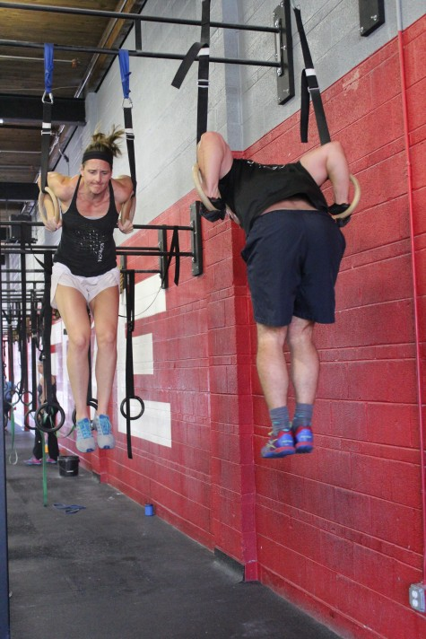 Lisa and Scotty enjoying yesterday's muscle-up extravaganza.