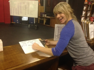 Courtney modeling the sign-up sheet for CrossFit Lodo