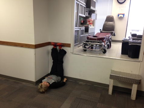 Just hanging out. Doing a little recovery in the middle of my Paramedic refresher class. Totally not awkward.