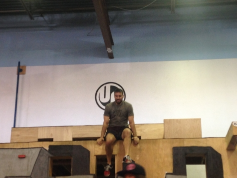 James W. climbing down after a victorious run at the Ninja Warrior course @ Urban Acrobatics!