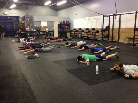 The early morning class flying through their post WOD superman holds. See what I did there?