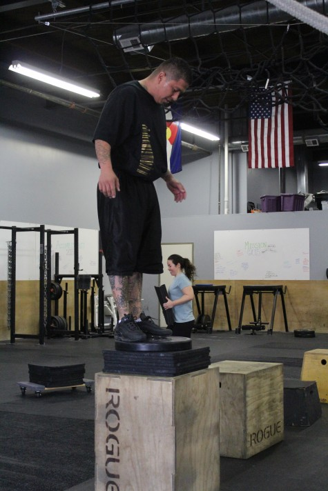 Artis working on his max height box jump.