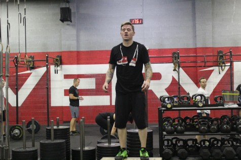 Jared in the pain cave during a max reps box jump minute.