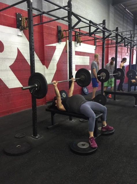 The face may be hidden but most of us can still recognize our favorite WODing soon-to-be mama, Monica. Who just happened to PR her bench press yesterday. Congrats Monica on staying healthy and strong and still hitting those PRs!!