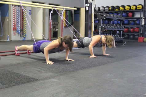 Kristi and Katie working through a nice little push-up EMOM.
