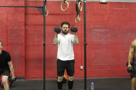 Jake working through some hang dumbbell cleans during yesterdays workout.