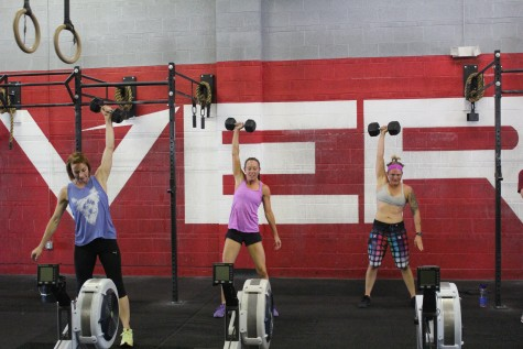 Sarah, Melissa, and Danielle just hanging out. . .working with some dumbbells. . . no big deal.