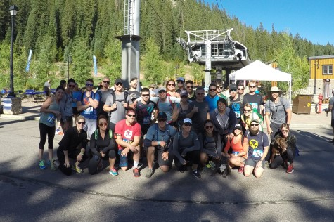 Just before the start of the O2X Summit Race in Winter Park. We are missing a few faces. It turns out trying to get over 30 people together for a photo is literally like herding kittens.