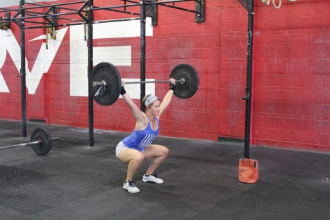 Erin getting after some overhead squats.