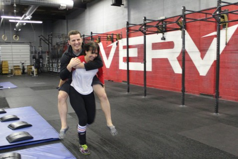 Ali just giving Matt a lift around the gym.