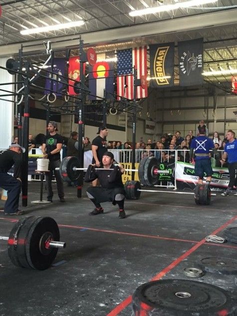 Patrick working through a clean and front squat complex during his first competition.