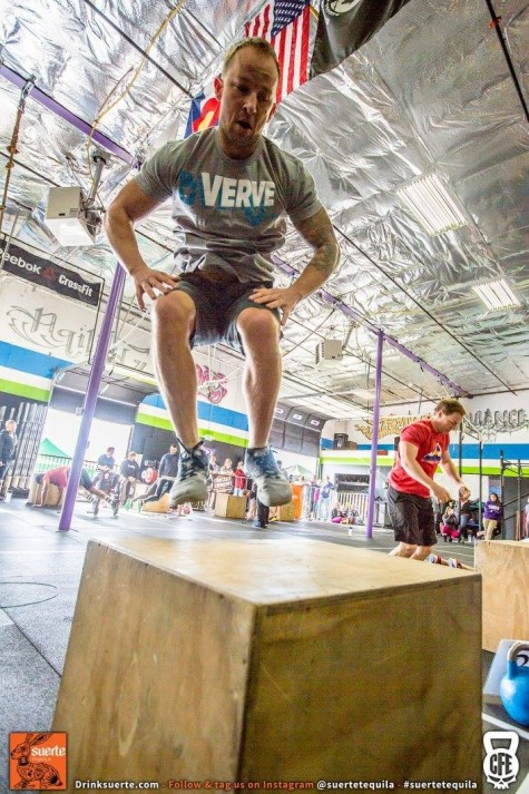 Zink killing some burpee box jumps during the Winter WODfest competition.