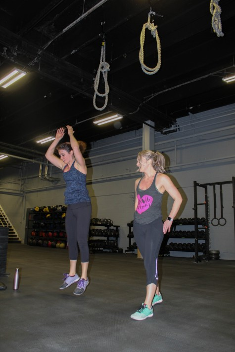 Margot and Dana working through a few partner burpees...Today you do them all by yourself.