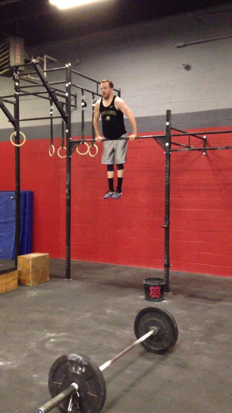 Garret kicking off 16.3 with his first bar muscle-up in a workout.