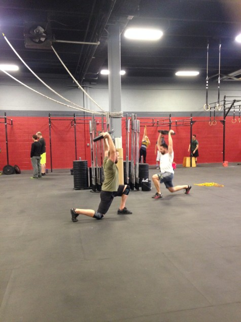 Ryan and Paul going head to head with those dreaded OH walking plate lunges during Sprint!
