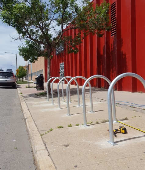 New bike racks out front of Verve. Start bringing those locks as we'll be keeping the lobby clear of bikes.