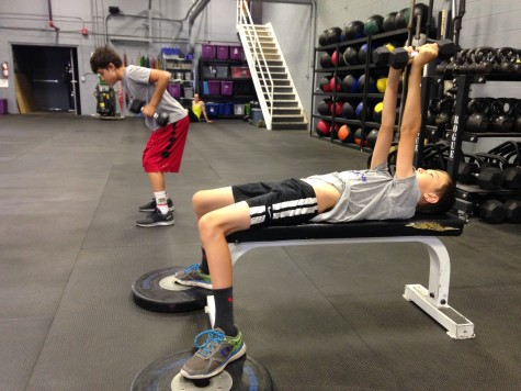 Verve kids Ty and Noah working on a solid bro session of bench and rows.