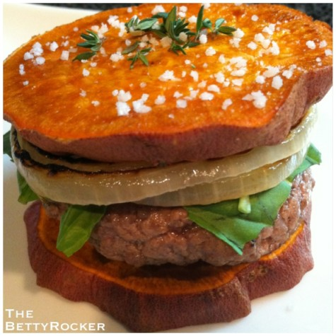 Sweet potato as a vehicle for a burger?? yes please!