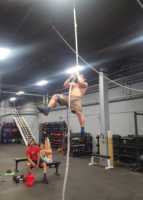 Legless rope climbs are tough, but not when you have friends to cheer you on.