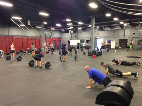 Sprint class working on max rep burpees, main class working on max rep deadlifts. Everyone working out together in sweet max rep heaven.