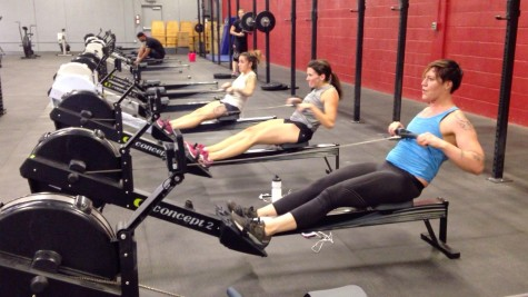 Danni, Diona, and Maddie getting after some rowing.