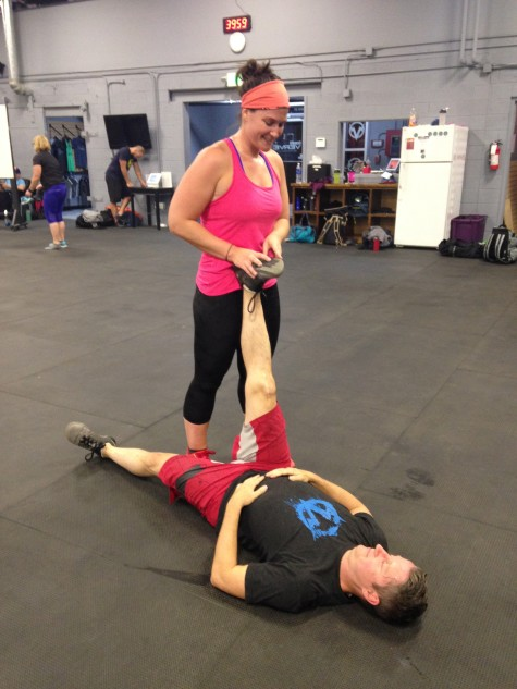 Well, that hamstring wasn't going to stretch itself. Erin being a good mobilibuddy to Matt.