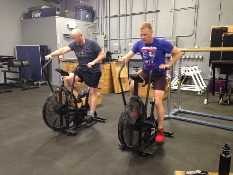 Chris and Patrick working hard on those assault bikes.