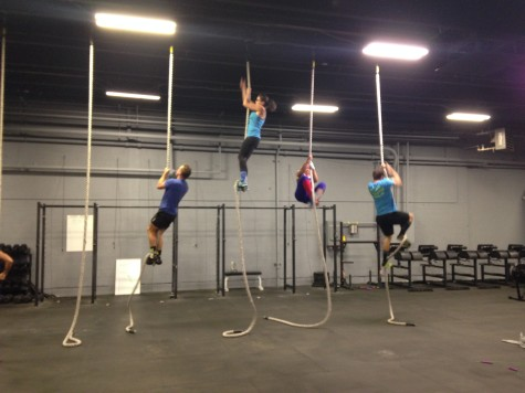 Frank, Alina, Bailey, and Ryan working on some rope climbs.