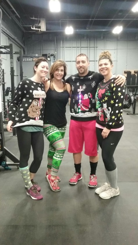 Jen, Tammy, Nate, and Jackie showing the holiday spirit.