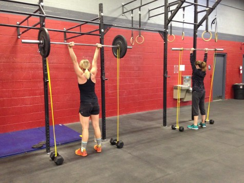 Leah and Heather working through some banded push press.