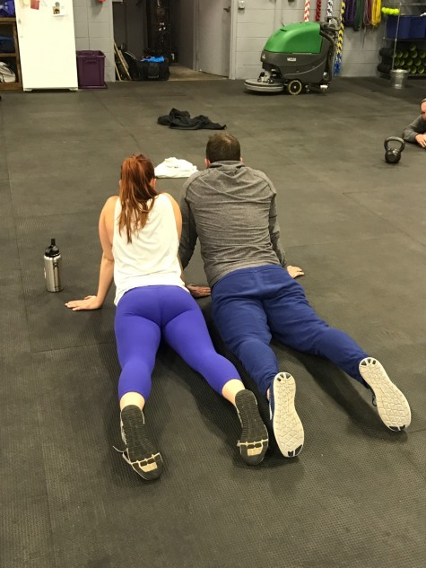 The couple that WODs together. . . and stretches together. . . and dresses alike. . . are a couple.
