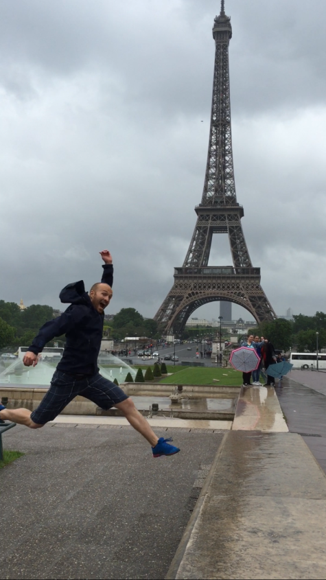 Patrick showing his excitement for the majesty of the Eiffel tower!