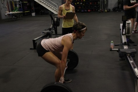 Erin showing good deadlift form, which will come in handy today