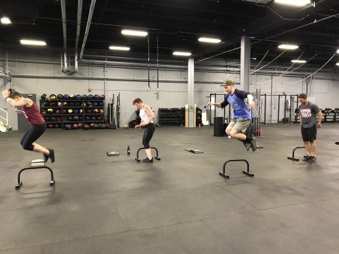 The Sunday crew hitting up Tabata paralette lateral jumps.