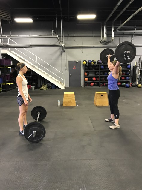 Erin and Jackie making easy work of Saturday's partner WOD.